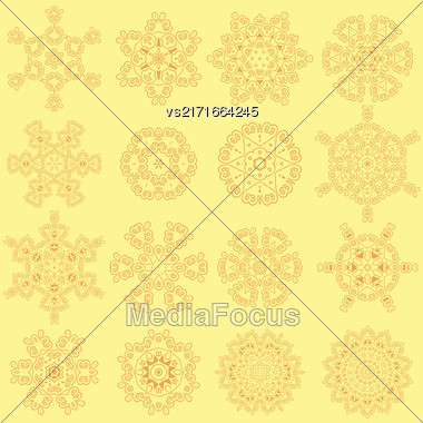 Round Geometric Ornaments Set Isolated On Yellow Background Stock Photo