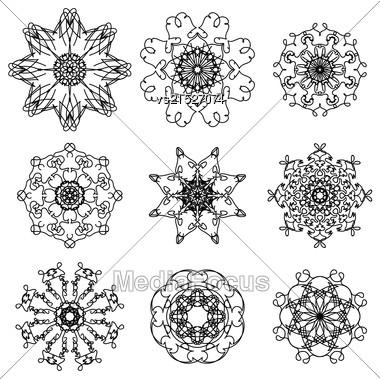 Round Ornamental Geometric Pattern. Silhouettes Of Snowflakes Stock Photo