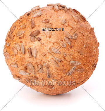 Round Sandwich Bun With Sunflower Seeds Isolated On White Background Stock Photo