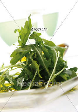 Rucola Salad Plate Stock Photo
