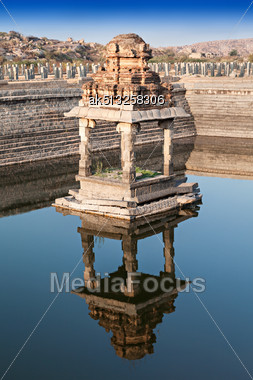 Ruined Pond With Water, Hampi, India Stock Photo