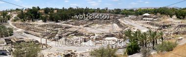 Ruins Of The Ancient Roman City, Bet Shean, Israel Stock Photo