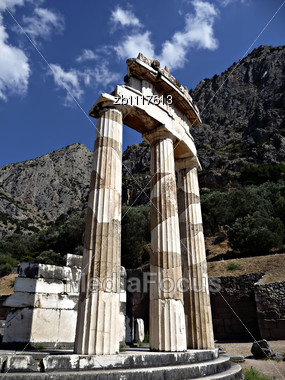 Ruins Of Athena Temple At Delphy At Sunny Summer Day Stock Photo