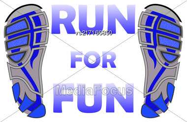 Run Banner With Sropt Shoes Isolated On White Background Stock Photo