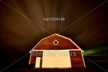 Rural Barn Night Photograhy In Saskatchewan Canada Stock Photo