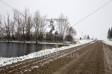 Rural Country Church In Winter Canada Saskatchewan Stock Photo