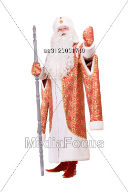 Russian Christmas Character Ded Moroz (Father Frost) With The Stick In His Hands Stock Photo