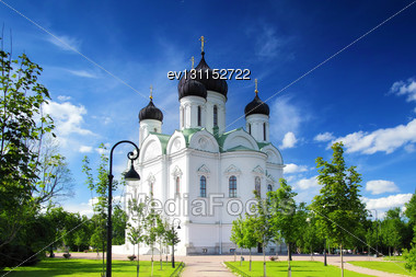 Russian Church In Pushkin, St. Petersburg. Russian Stock Photo