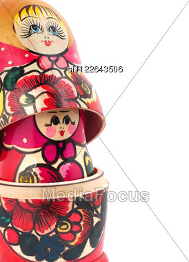 Russian Dolls. Isolated Stock Photo