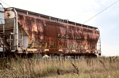 Rusted RailCar Railroad In Saskatchewan Canada Old Stock Photo