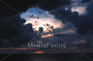 clouds moon eclips dawn sunsets Stock Photo