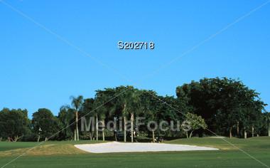 golfing grass trees resort Stock Photo