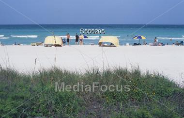 sandy beach tropics island Stock Photo