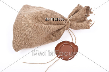 Sack With Sealing Wax Stock Photo