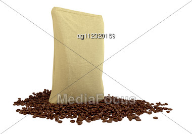 Sacking Package On Coffee Beans Isolated Over White Stock Photo
