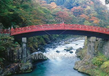 Sacred Bridge, Nikko National Park, Japan Stock Photo