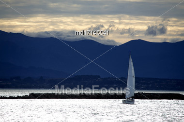 Sailboard Wind Surfer Nelson New Zealand Windy Day Stock Photo