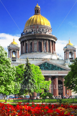 Saint Isaac's Cathedral In St Petersburg Stock Photo