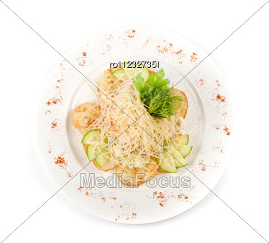 Salad Dish With Dried Crust, Vegetables, Greens And Cheese Stock Photo