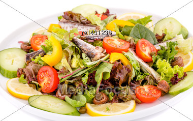 Salad With Fish And Fresh Vegetables On White Background Stock Photo