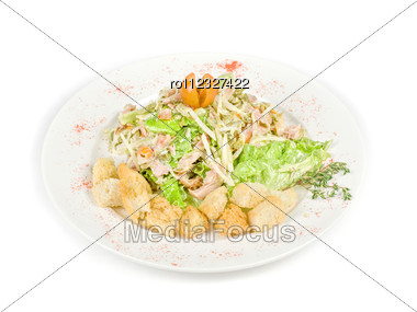Salad Of Meat, Vegetable And Dried Crust Dish Stock Photo