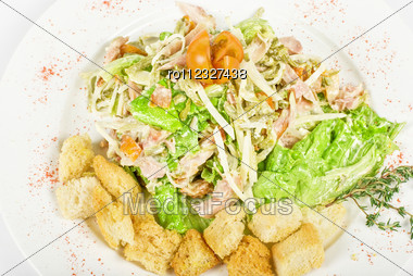 Salad Of Meat, Vegetable And Dried Crust Dish Close Up Stock Photo