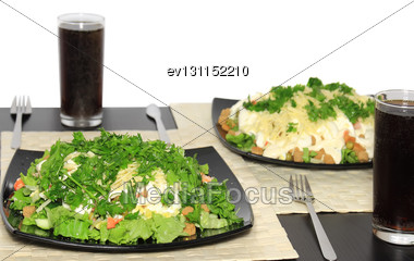 Salad With Shrimps, Dried Crust, Leaf Of Lettuce And Fizz Drink. Isolated Stock Photo