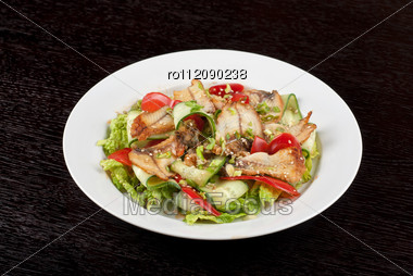 Salad Of Smoked Eel, Lettuce,Chinese Cabbage And Vegetables Stock Photo