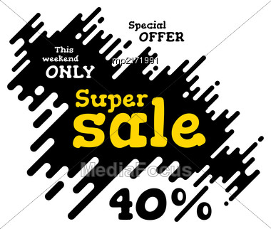 Sale Illustration With Rounded Lines Background. Vector Stock Photo