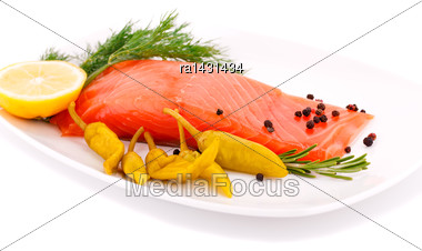 Salmon Fillet With Lemon, Dil, Pepper On Plate Isolated On White Background Stock Photo