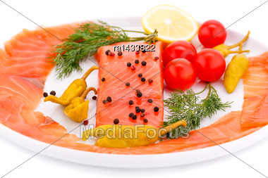 Salmon Fillet With Lemon, Dill, Pepper On Plate Isolated On White Background Stock Photo