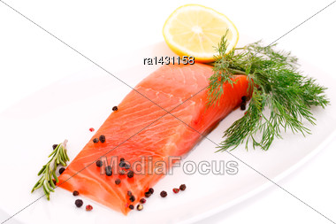 Salmon Fillet With Lemon, Dill On Plate Isolated On White Background Stock Photo