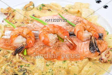 Salmon Fish And Seafood Tasty Gourmet Dish Closeup Stock Photo