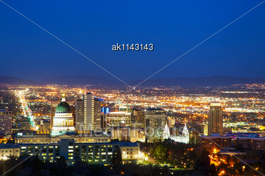 Salt Lake City Overview In The Night Stock Photo
