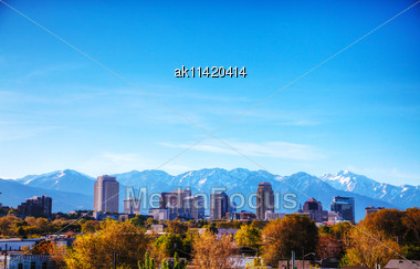 Salt Lake City Overview On A Sunny Day Stock Photo