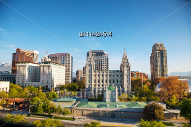 Salt Lake City Panoramic Overview In The Evening Stock Photo