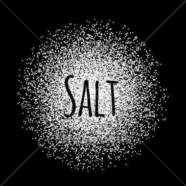 Salt Made Of White Dots. Vector Illustration On Black Stock Photo