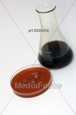 Samples Of Light Crude Oil From An Exploratory Well On The West Coast Of New Zealand. The Oil Is Very Close To Diesel In Composition But Also Has Some Wax Content Stock Photo
