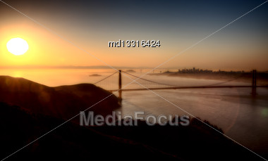 San Fransisco Skyline Sunrise From High Viewpoint Stock Photo
