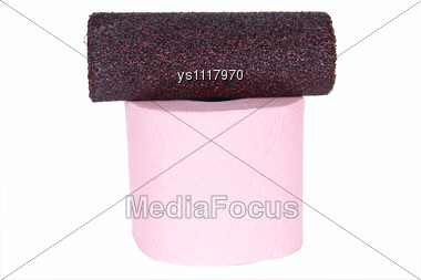 Sandpaper And Toilet Paper Stock Photo