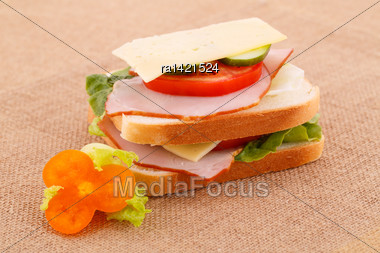 Sandwich With Rusks, Vegetables, Bacon And Cheese On Canvas Background Stock Photo
