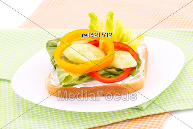 Sandwich With Rusks, Vegetables, Cheese In Plate On Towels Stock Photo