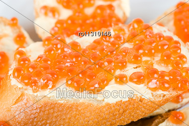 Sandwiches Caviar At Plate Close Up Stock Photo