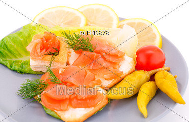 Sandwiches With Salmon Fillet On Gray Plate Isolated On White Background Stock Photo