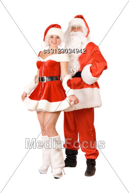 Santa Claus And Smiling Snow Maiden. Stock Photo