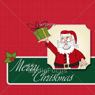 Santa Claus With Gift, Comic Illustration In Vector Format Stock Photo
