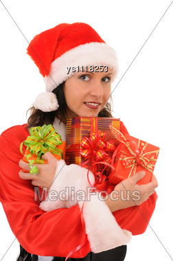 Santa Woman With Gift Stock Photo