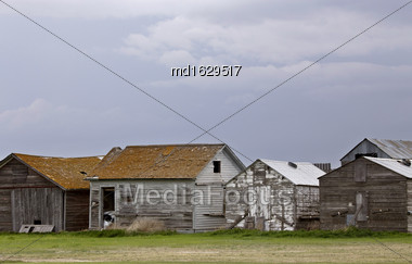 Saskatchewan Farm Buildings Old Wooden Structures Canada Stock Photo