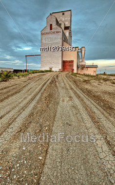 Saskatchewan Grain Elevator Tuxford Rail Car Transportation Stock Photo