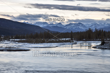 Saskatchewan River Near Nordegg In Winter Alberta Canada Stock Photo
